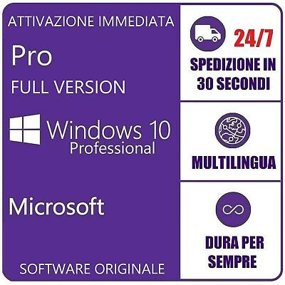 Windows 10 Pro 32/64Bit Professional Key Chiave Originale Esd Licenza Microsoft
