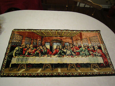 "Vintage The Last Supper Tapestry, Wall Hanging, Rug 37.5"" X 20 1/4"""