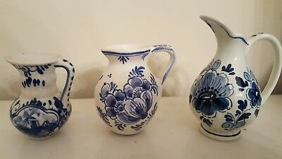 Vintage Delft Blue and White Three  Small Pitchers Vases, hand painted, signed