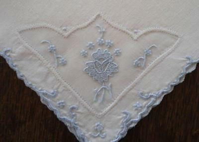 6 Vintage Blue Madeira Organdy Embroidered Napkins Seed Stitched Flowers
