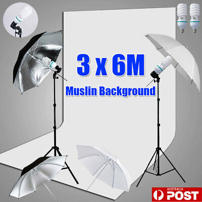 Studio Soft Umbrella Continuous Lighting Light Stand 3x6m White Muslin Backdrop