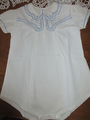 VINTAGE ANTIQUE WHITE EMBROIDERED ROMPER ONE PIECE 1920's 30 40's ?? 18 24 mo 2?