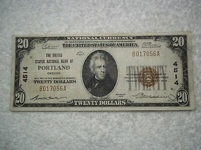 1929 $20 Portland Oregon OR National Currency T1 #4514 United States National