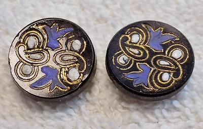 Lot of (2) Two Antique Black Glass Buttons Bluebirds Gold Trim