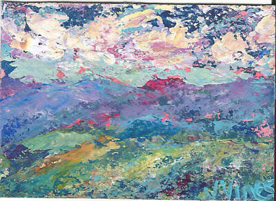Original Abstract Acrylic Knife Purple Mtns Landscape Painting ACEO ART small NR