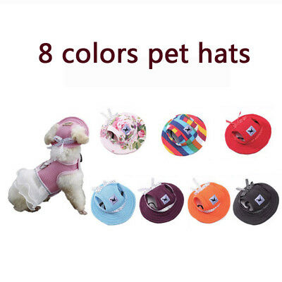 Summer Pet Dog Hat Accessories For Small Dogs Bowknot Mesh Cap CN