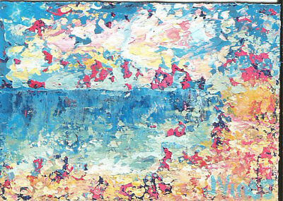 Original Abstract Acrylic Knife Landscape Beach Painting ACEO small ART card SFA