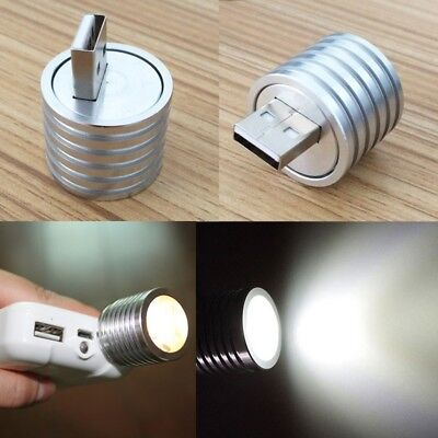 3W Portable Mini USB LED Spotlight Lamp Mobile Power Flashlight Silver Camping