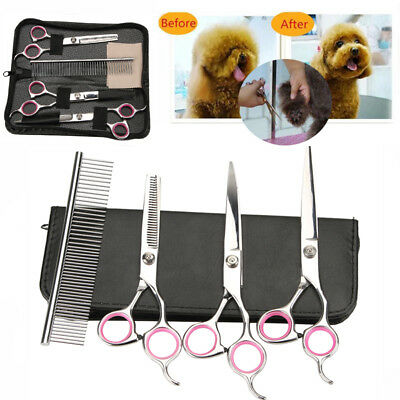 """8""""Professional Pet Dog Grooming Scissors Set Straight Curved Thinning Shears Kit"""
