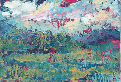 Original Abstract Acrylic Knife Landscape Painting ACEO mini ART card small OOAK