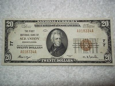 1929 $20 Scranton Pennsylvania PA National Currency T1 #77 1st National Bank