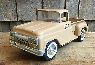Vintage 1960s TONKA TOYS Pressed Steel Pick Up Beige Truck Toy Collectible