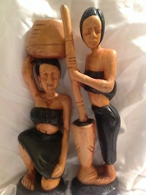 Balinese? Hand Carved Wooden Statues Dignified Tribal Women Working Nice Colorin