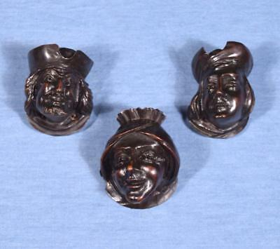 *Set of Three Antique French Carved Oak Wood Heads Salvage Trim