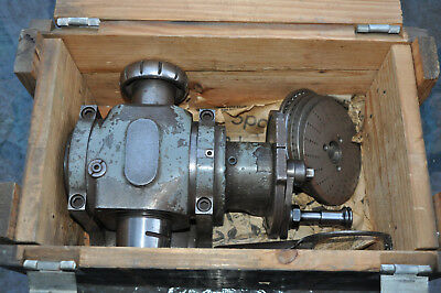Hardinge Universal Dividing Head 5C Spindle With Wrench ,  7 Plates & Wood Case