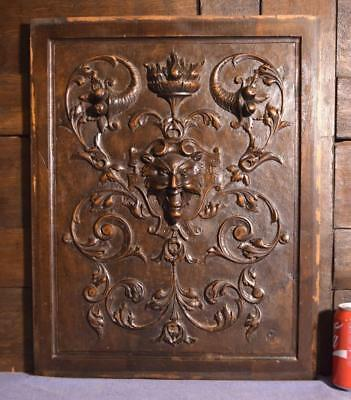 "22"" Tall French Antique Deep Carved Panel With Baccus/Devil Face in Walnut Wood"