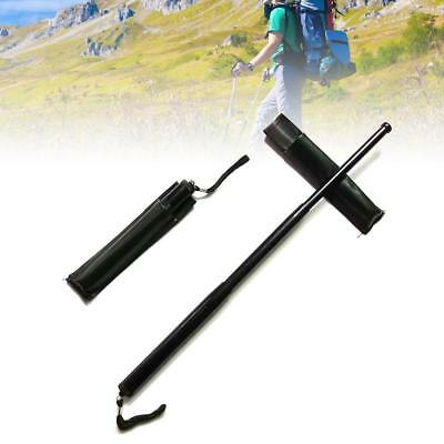 Trekking Pole Carbon Steel 3 Sections Telescopic Stick Retractable Outdoor Whip