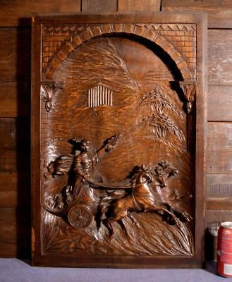 "25"" Tall French Antique Deep Carved Panel With Horses & Chariot in Walnut Wood"