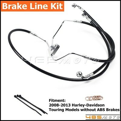 """Black Motorcycle Front +10"""" Stainless Brake Line Kit For Harley Touring 2008-13"""
