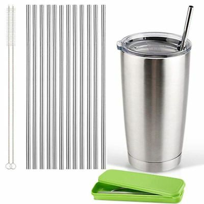 set of 12, Stainless Steel Straws, Reusable Metal Drinking Straws, Straight X7H8