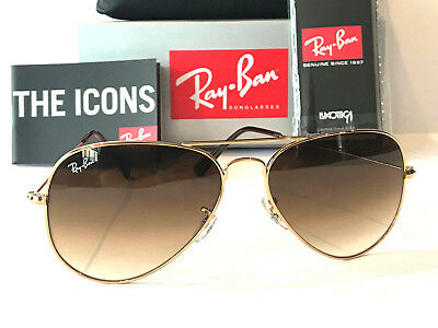 Ray-Ban Aviator Gradient Brown Lens Gold Frame Rb 3025 Size 58 Sunglasses