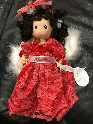 "Precious Moments 12"" Angel Of The Month December Red Dress New"