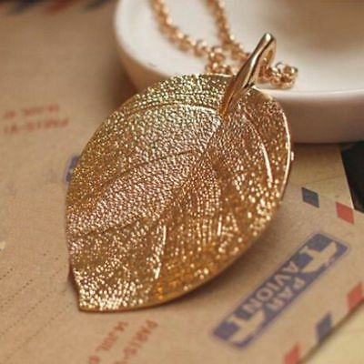 Women Gold Plated Leaf Pendant Long Sweater Chain Necklace Jewelry