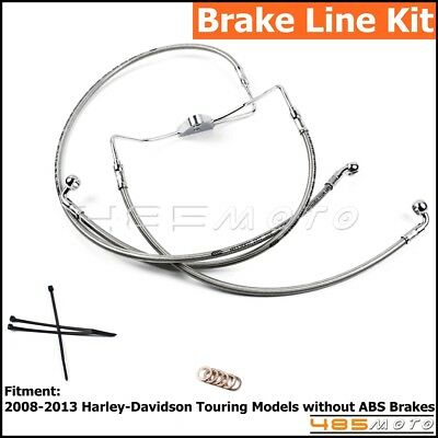 """1 Set Motorcycle Stainless Steel Front +10"""" Brake Line Kit For H-D Touring 08-13"""