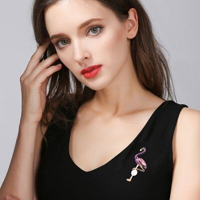 Women Elegant Animal Flamingo Bird Shape Brooch Female Animal Brooch Q4