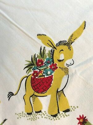Vintage 40s 50s Southwestern Novelty Mexican Donkey Tablecloth Table Cloth 53x43