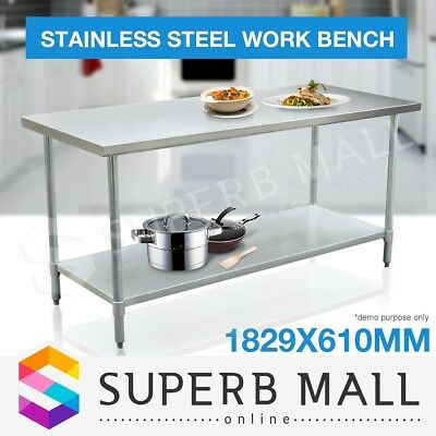 183cm x 61cm Kitchen Work Bench Stainless Steel Commercial Food Prep Table Top
