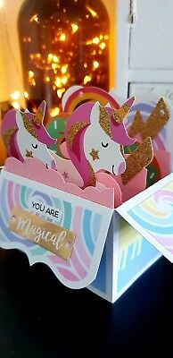 Handmade Unicorn Card Happy Birthday 3D Box Pop Up
