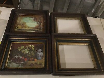 4  Antique Deep Dish Walnut Victorian Picture Frames