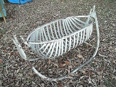 ANTIQUE 19th CENTURY BENTWOOD BOAT HULL CRADLE IN ORIGINAL WHITE PAINT