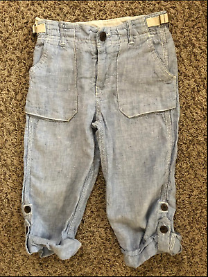 Baby Gap Boys Chambray Roll Up Cuff Linen Pants Size 4