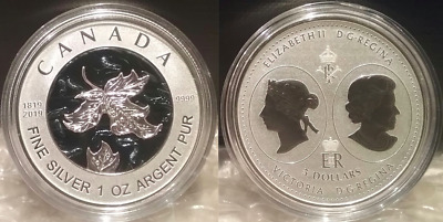 1819-2019 Bicentennial Celebration Maple Leaf $5 1OZ Pure Silver Proof Coin