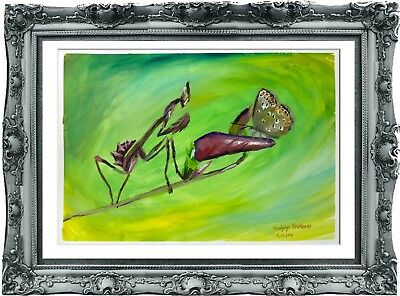 original drawing art butterfly and mantis 23SV gouache papillon et mante A3