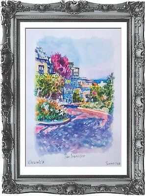 original painting San Francisco USA painting 269UV art watercolor signed A3