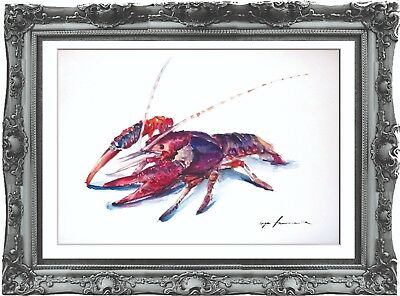 original painting art crayfish 208HI watercolor peinture A3
