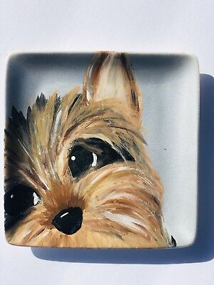 Hand Painted Yorkshire Terrier Yorkie Decorative Plate Jewelry Ring Trinket Dish