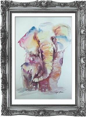 original painting art elephant 209HI watercolor peinture A3