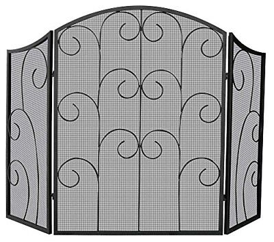 NEW Uniflame, S-1015, 3 Panel Black Wrought Iron Screen with Decorative Scroll