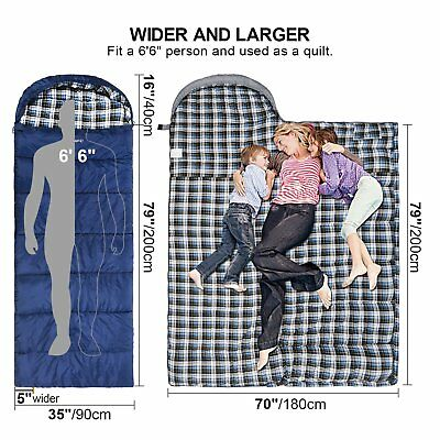 REDCAMP Cotton Flannel Sleeping Bag Adults, 23/32F Comfortable, Envelope Compres
