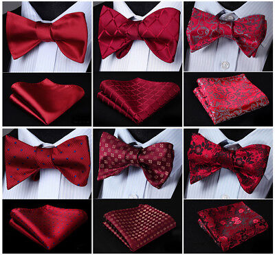 26 Color Red Burgundy Men's Self Bow Tie Set Woven Silk Plaid Party Wedding
