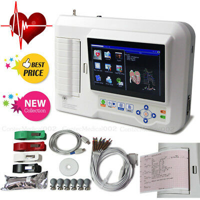 6 Channel ECG Machine 12 Lead Electrocardiograph Touch EKG Cardiac Monitor SW