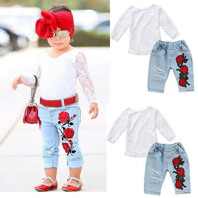 Toddler Kids Baby Girls 3D Flower Tops Lace Shirt Denim Pants Outfit Set Clothes