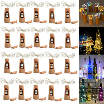 2M 20 LED Wine Bottle Fairy String Cork Lights Starry Night Lamp for Wedding UK