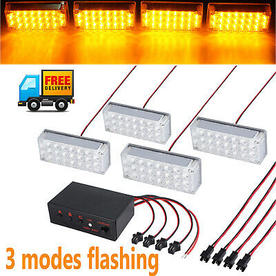 3 modes Flashing 22LED Amber  Emergency Warning Strobe Light Roof Grille Bar Car