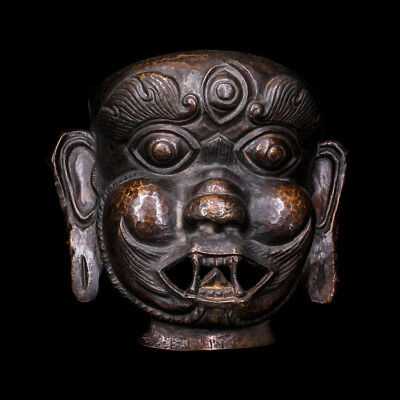 """7"""" Asian Nepal old copper Tibet Buddhism head Mask statue"""