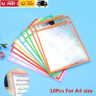 10 PCS Dry Erase Pocket Sleeves Resuable Stationery for Kids Pupils Wipe Tool